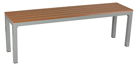 Cortesi Home Avery Large Aluminum Outdoor Bench in Poly Resin, Silver Teak