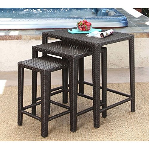 NEW! Renee Wicker Outdoor 3-piece Tea Nesting Table Set, Brown ()