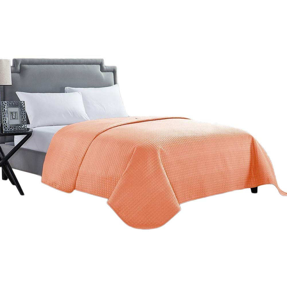 HollyHOME Solid Color Bed Quilt Spring Summer Coral Bedspread for King Size Bed