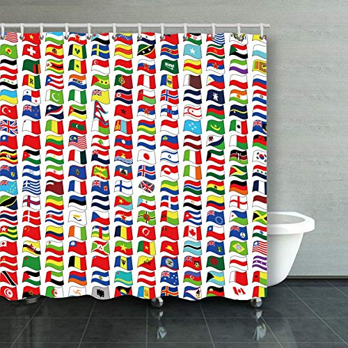X-Large Shower Curtain Waterproof Polyester Fabricwaved National Flags Illustrations Clip Art Flag Transportation Decorative Bathroom Curtain with Hooks 60 X 72 Inch (Best Color Printer For Business In India)