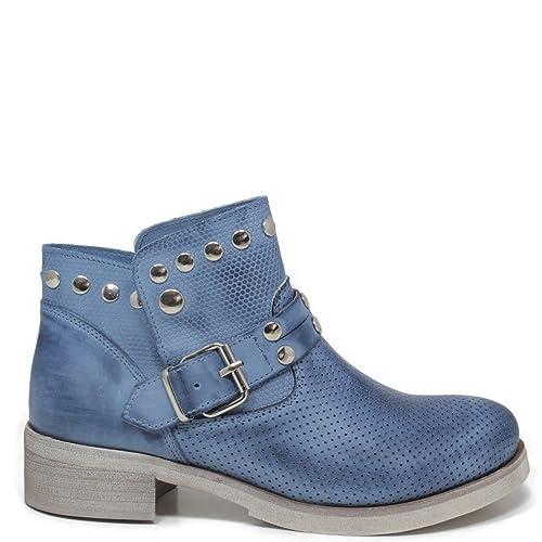 Personal Shoepper Stivaletti Biker Bassi Traforati Donna Cinturini Borchie Prestige 0334 Blu Jeans in Vera Pelle Nabuk Made in Italy