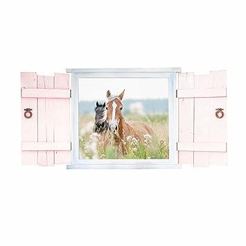 023 Wandtattoo Pferde im Fenster mit Fensterläden - in 6 Größen ...