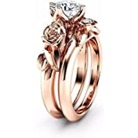 Haluoo Boho Jewelry, 2 in 1 Couple Rings Set Rose Flower Engagement Rings Round Brilliant Cut Cubic Zirconia Wedding…