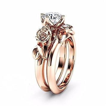 8f1c89b10f2 Amazon.com: Haluoo Boho Jewelry, 2 in 1 Couple Rings Set Rose Flower ...