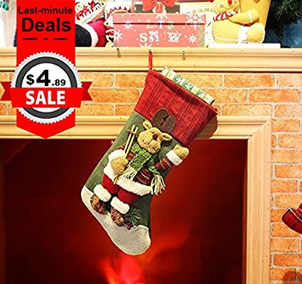 classic festive decor christmas stockings 3d cute cartoon reindeer stocking 18