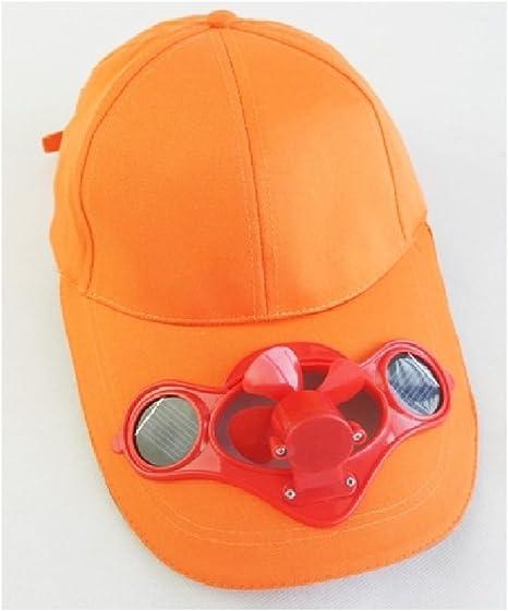 JXY - Gorra de béisbol con ventilador alimentado mediante paneles solares frontales en la visera, ecológica, adecuada para acampadas y viajes, color naranja: Amazon.es: Hogar