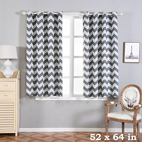 BalsaCircle 52 x 64-Inch Charcoal Grey Chevron Blackout Window Drapes Curtains 2 Panels with Grommet Top - Home Decor Decorations
