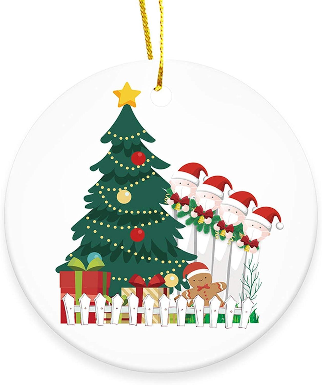 Ceramic Ornaments-2 Social Distancing Funny Novelty GOCOLER Ceramic Double-Sided Design 2020 Christmas Tree Ornaments Quarantine Gift Crazy 2020 Keepsake Ceramic Holiday Decor