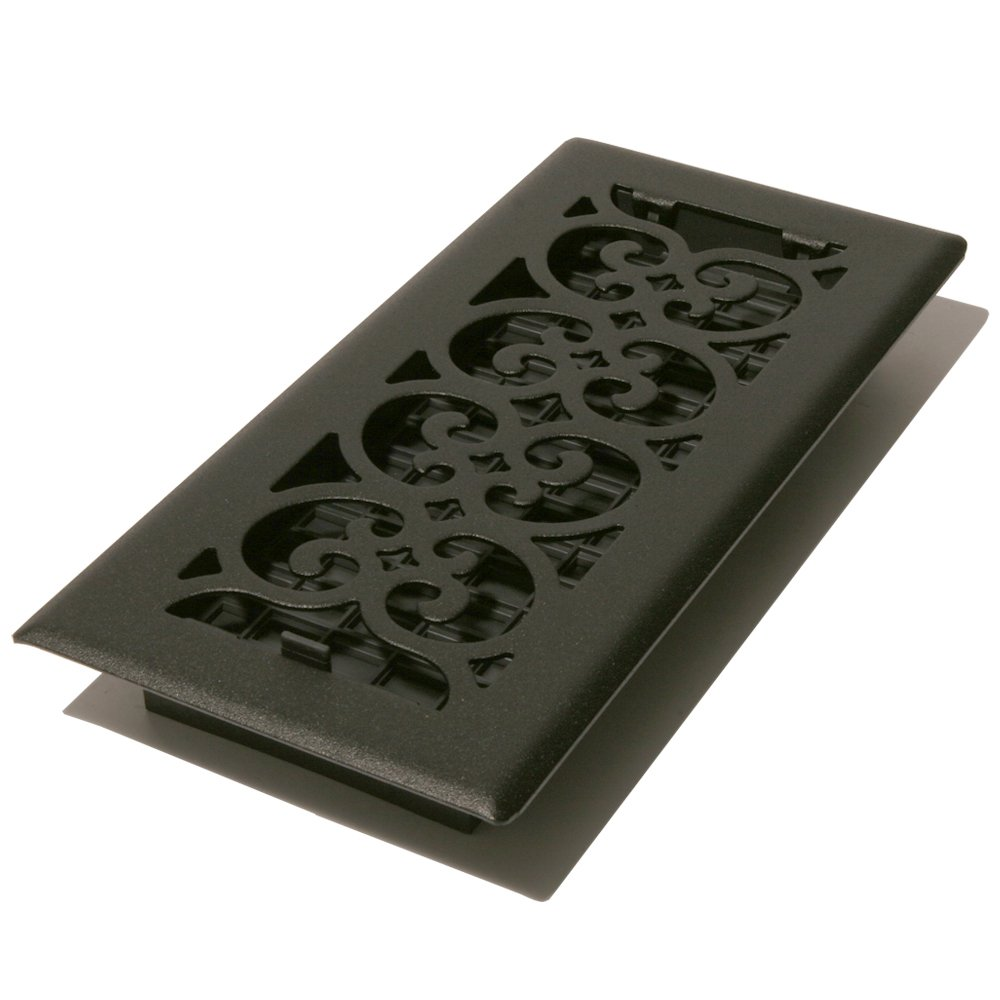 Decor Grates ST410 Scroll Floor Register, Textured Black, 4-Inch by 10-Inch