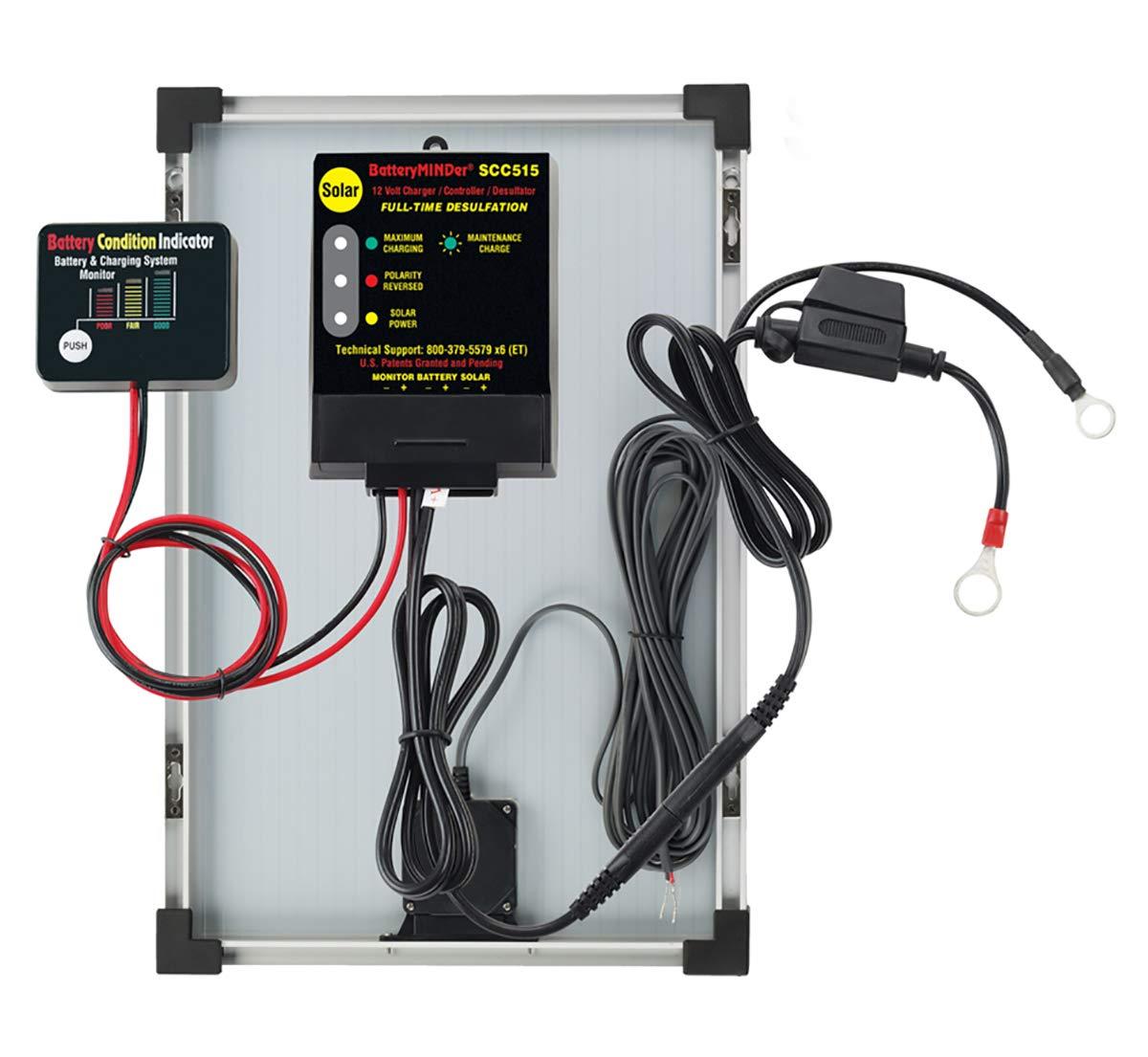 BatteryMINDer SCC-515-15 12 Volt 15-Watt Panel Solar Battery Charger/Controller/Desulfator - Designed for Cars, Trucks, Motorcycles, ATV, Boat, RV, etc.