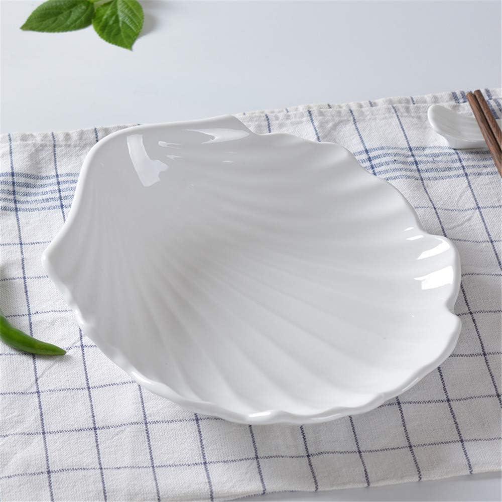 YUWANW coquille Saint-Jacques en forme cr/éative personnalit/é maison plaque irr/éguli/ère en c/éramique casse-cro/ûte assiette de fruits de table pur h/ôtel blanc