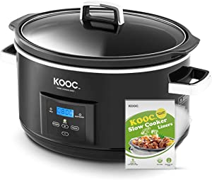 [NEW LAUNCH] KOOC 8.5-Quart Programmable Slow Cooker, Larger than 8 Quart, More Practical than 10 Quart, with Digital Countdown Timer, Free Liners Included for Easy Clean-up, Upgraded Ceramic pot, Adjustable Temp, Nutrient Loss Reduction, Black, Oval…