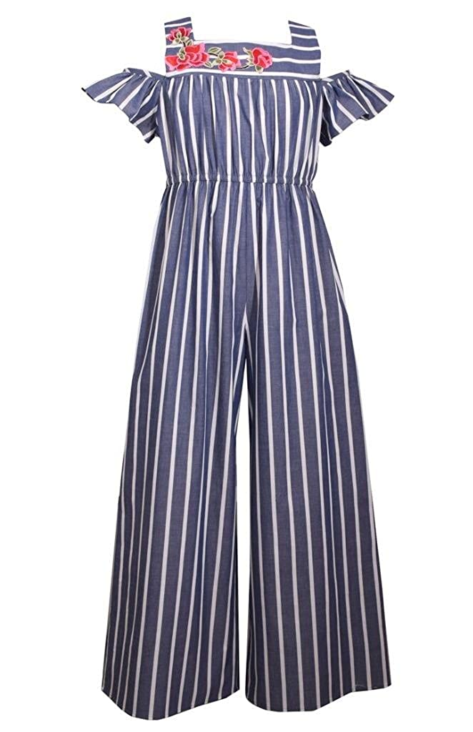 6fc9e6afff5ff Amazon.com: Bonnie Jean Navy & White Striped Chambray Jumpsuit: Clothing