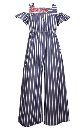 7df5901a00e2 Amazon.com  Bonnie Jean Navy   White Striped Chambray Jumpsuit  Clothing