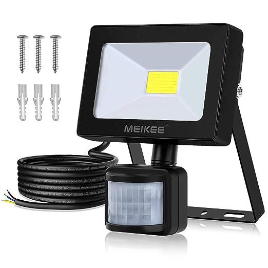 Foco con Sensor Movimiento, 10W Proyector Exterior Impermeable IP66 Luz LED 1000LM 6500K, Iluminación de Exterior y Seguridad interior y exterior para ...