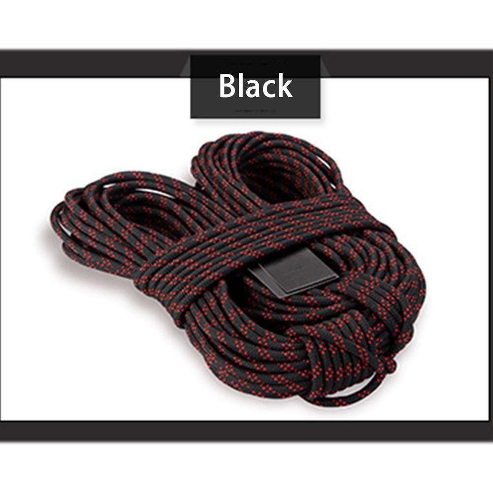 Noir GPAN Corde d'escalade en Nylon Corde de sécurité avec maillon à vis Différentes Longueurs Diamètre 8mm 15Meters