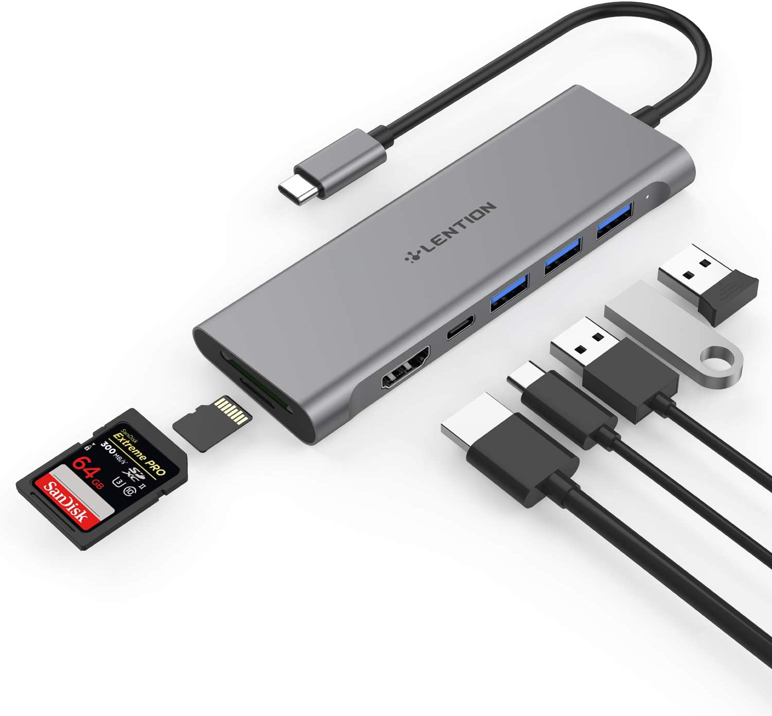 LENTION USB C Multi-Port Hub with 4K HDMI, 3 USB 3.0, SD/Micro SD Reader, Type C Charging Adapter for 2020-2016 MacBook Pro (Thunderbolt 3), New Mac Air/Surface, Chromebook, More (CB-C36B, Space Gray)