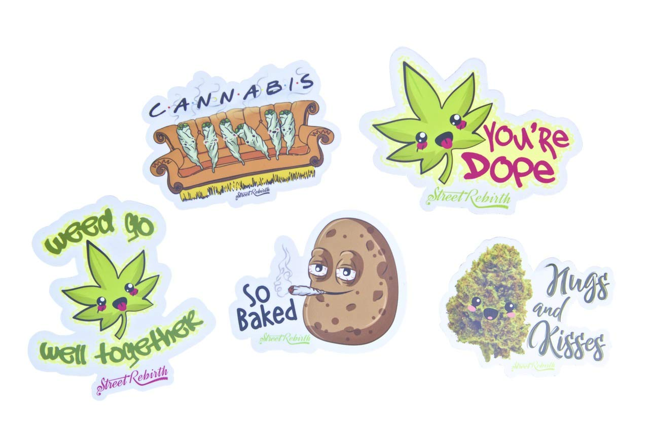 Weed Stickers 50pcs Decals for Laptops Water Bottles Toys and Gifts Cars Stickers Cartoon Anime Aesthetic Sticker Pack Marijuana