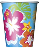 9oz Hawaiian Beach Party Paper Cups, Pack of 8