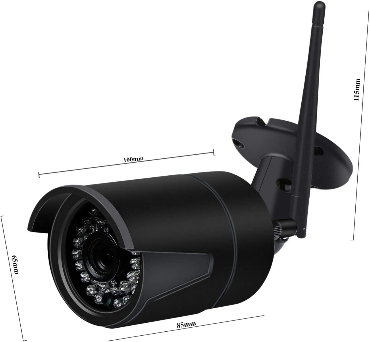 YUMUN 720P WiFi Bullet Camera IR Night Version Security Surveillance IP Camera IP66 Weatherproof for Outdoor and Indoor 2.4GHz No-Bullit-in SD Card Powered by Adaptor Black