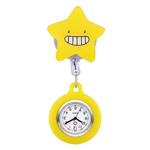 manifo Relojes Enfermeras FOB Reloj cuidado Reloj Pulso Reloj dibujos animados Estrella Bata Reloj silicona enfermera reloj de bolsillo amarillo: Amazon.es: ...