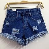 YFF High waist broken hole female denim shorts loose width leg pants tassle,M,Dark blue