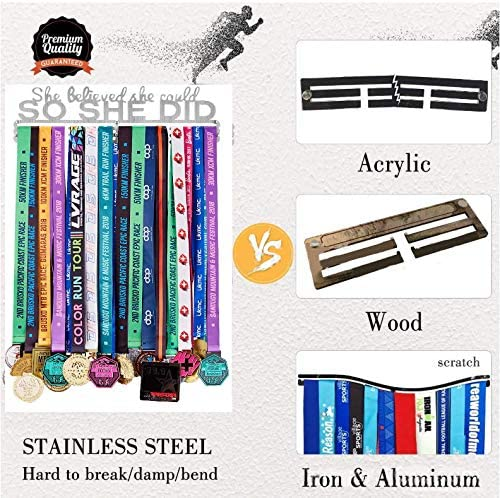 Stainless Steel Sturdy Wall Mount Over 50 Medals AthenaShoppe Medal Hanger for Sports Display Hanger Rack Frame