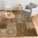 EHC Chenille Patchwork 120 x 160cm Floor Carpet Rug-Brown, Cotton, Chocolate, 160 x 120 x 0.05 cm