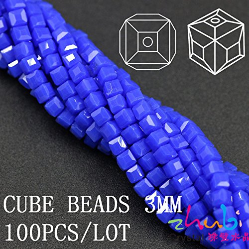 Blue 100Pcs/lot 3mm Square Faceted Crystal Glass Beads Glass Cube Beads 5601# Chunky Necklace Beads