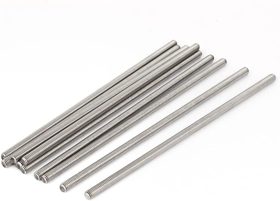 uxcell M6 x 170mm 304 Stainless Steel Fully Threaded Rod Bar Studs Fasteners 5 Pcs