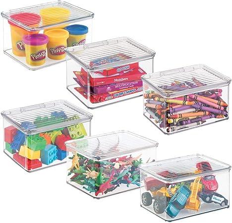 Rangement jouet avec couvercle pour des jouets rang/és sur une /étag/ère ou sous le lit Rangement chambre enfant transparent mDesign Bac /à jouet