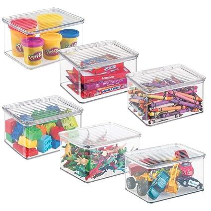 mDesign Práctico organizador de juguetes con tapa – Cajas de almacenaje para guardar juguetes bajo la