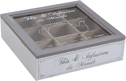 Francés estilo antiguo de madera del té bolsa de la caja de almacenaje de tórax 9 Compartimiento Caddy Holder: Amazon.es: Hogar