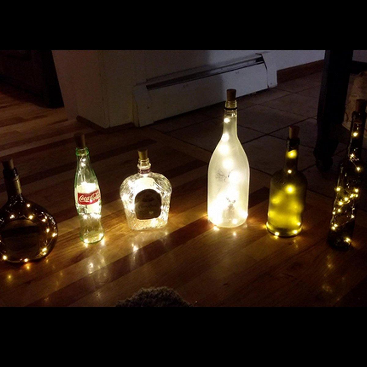 Lights For Wine Bottles Amazoncom Cosoon Set Of 6 Wine Bottle Cork Lights Copper String