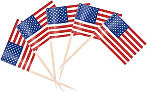 Tectsia USA US America Toothpick Flag, 200 Pcs American Flags, Cupcake Toppers Flag, Small Mini Stick Flags Picks Party Decoration Celebration Cocktail Food Bar United States Cake Flags
