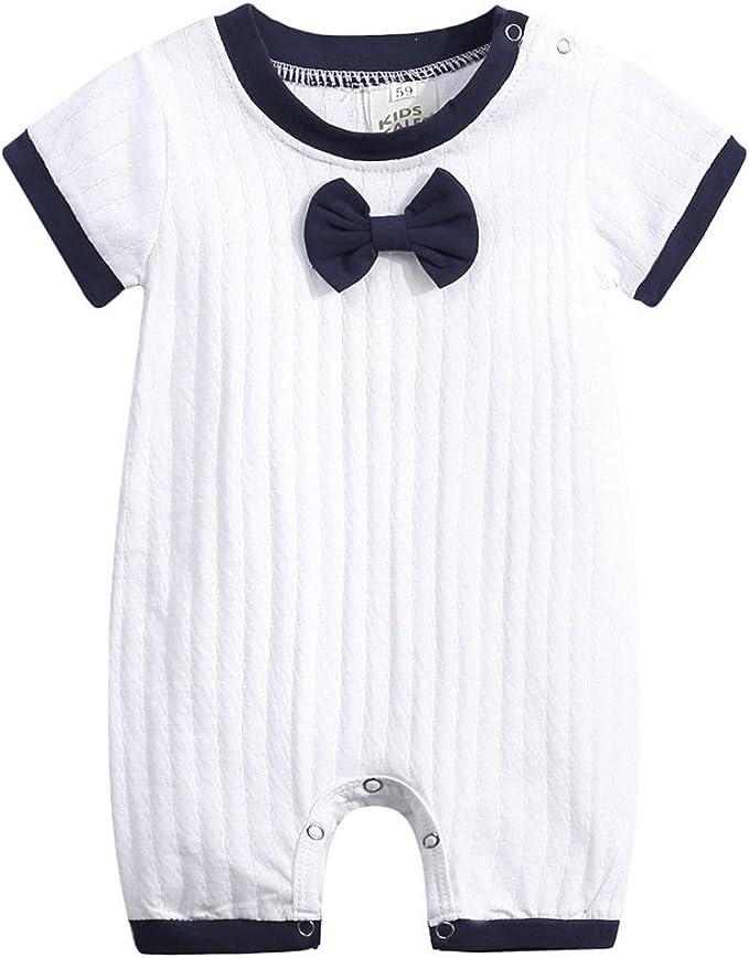 US Newborn Twins Baby Girls Boys Navy Stripe Bodysuit Jumpsuit Outfits Clothes