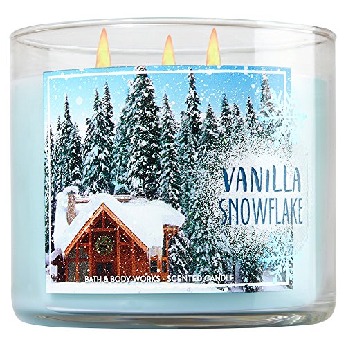 Bath and Body Works White Barn 3 Wick Candle 2016 Winter Edition Vanilla Snowflake -