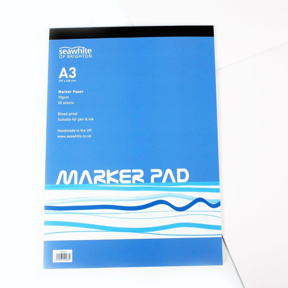 50 fogli A3 Marker Pad, anti sbavatura, carta da 70 gmq, adatto per penne, matite, pennarelli, prodotti nel Regno Unito Seawhite