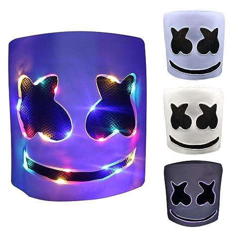 remote.S Fiesta De Halloween Party Night Club Latex Máscara Blanca Adulto DJ Marshmello Máscara Máscara LED Máscara Disfraz Luminosa Craneo Esqueleto