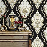 JZ27 Luxury Damask Wallpaper Rolls, Black/Gold/Silver Embossed Texture Victorian Wall Paper Home Bedroom Living Room Hotels Wall Decoration 20.8''x 31ft