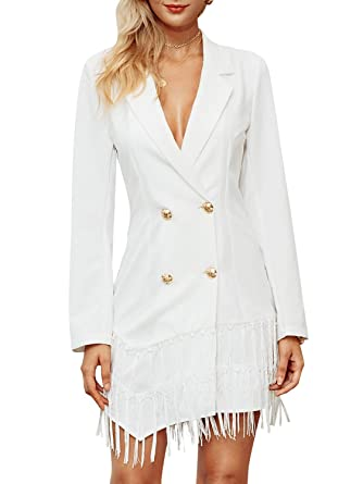 22fdc539a2e0 D Jill Women's Lapel Double Breasted Long Sleeve Office Mini Blazer Dress  with Tassel White