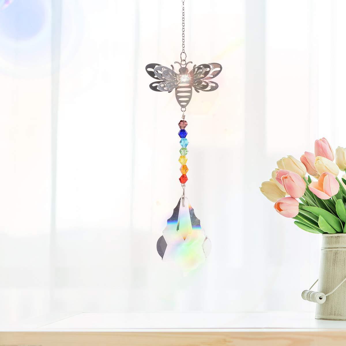 3D Metal Bee Fengshui Rainbow Maker Glass Chakra/Window Hanging Crystal Garden Suncatcher with Ball Pendant Pack of 2