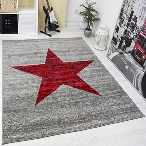 Heatset Jugendzimmer Teppich, Sternmuster, Meliert in Rot, Grau - ÖKO TEX Zertifiziert, Maße:240x340 cm