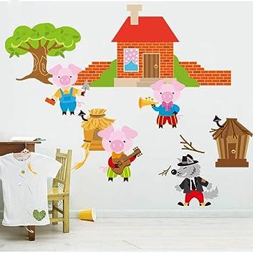 Tres cerditos construyen una casa La sabiduría pelea Lobo ...