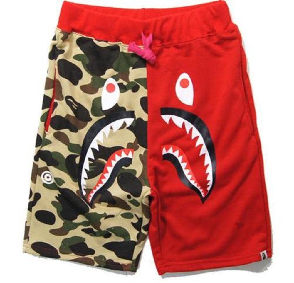 Hot A Bathing Ape Japan Men's Bape Shark Jaw Shorts Pants Camo Print Color Pants (Red, 2XL)