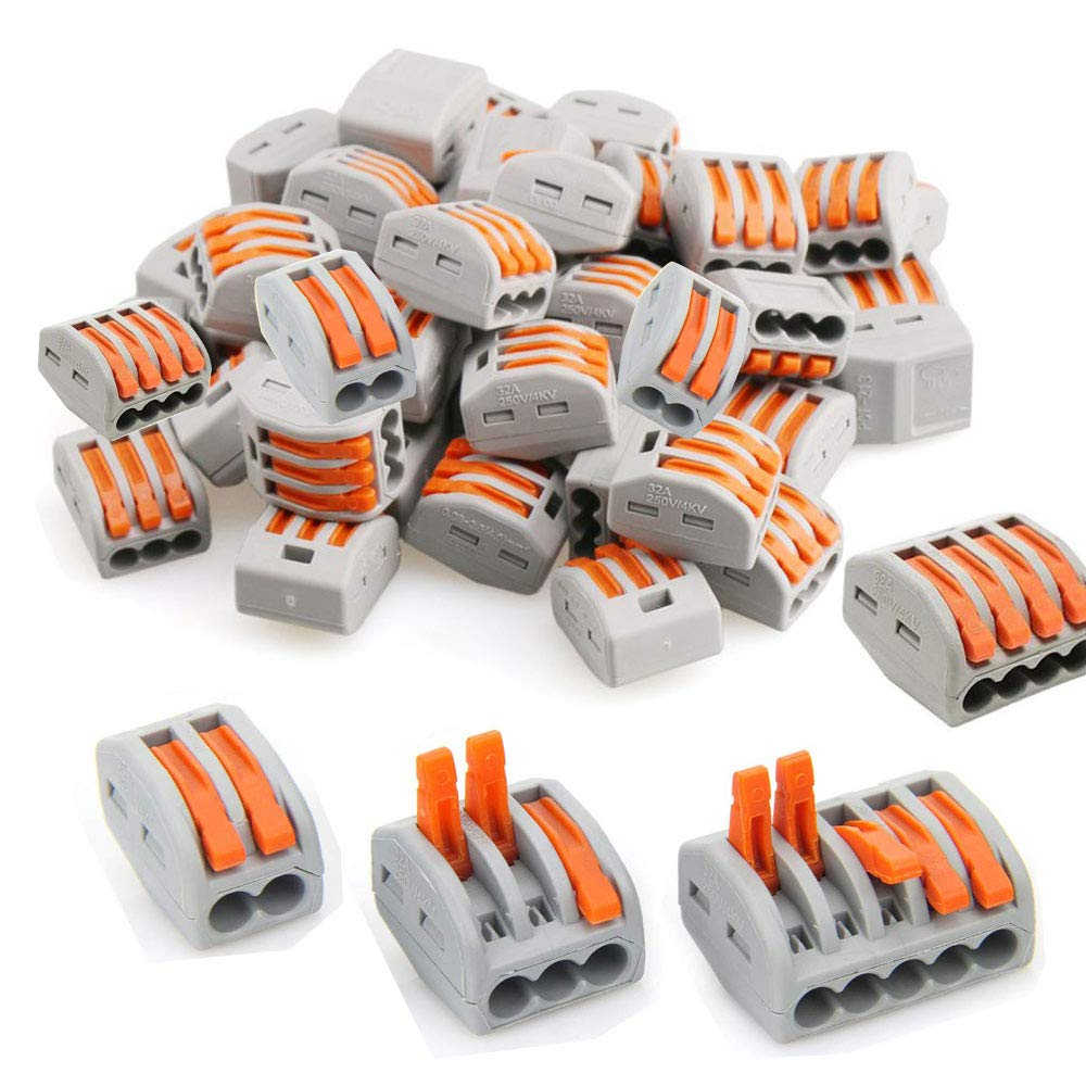 Lever-Nut Assortment Conductor Compact Wire Connectors PCT-212(25 PCS) PCT-213(25 PCS) PCT-214(25 PCS) PCT-215(25 PCS) 100PCS