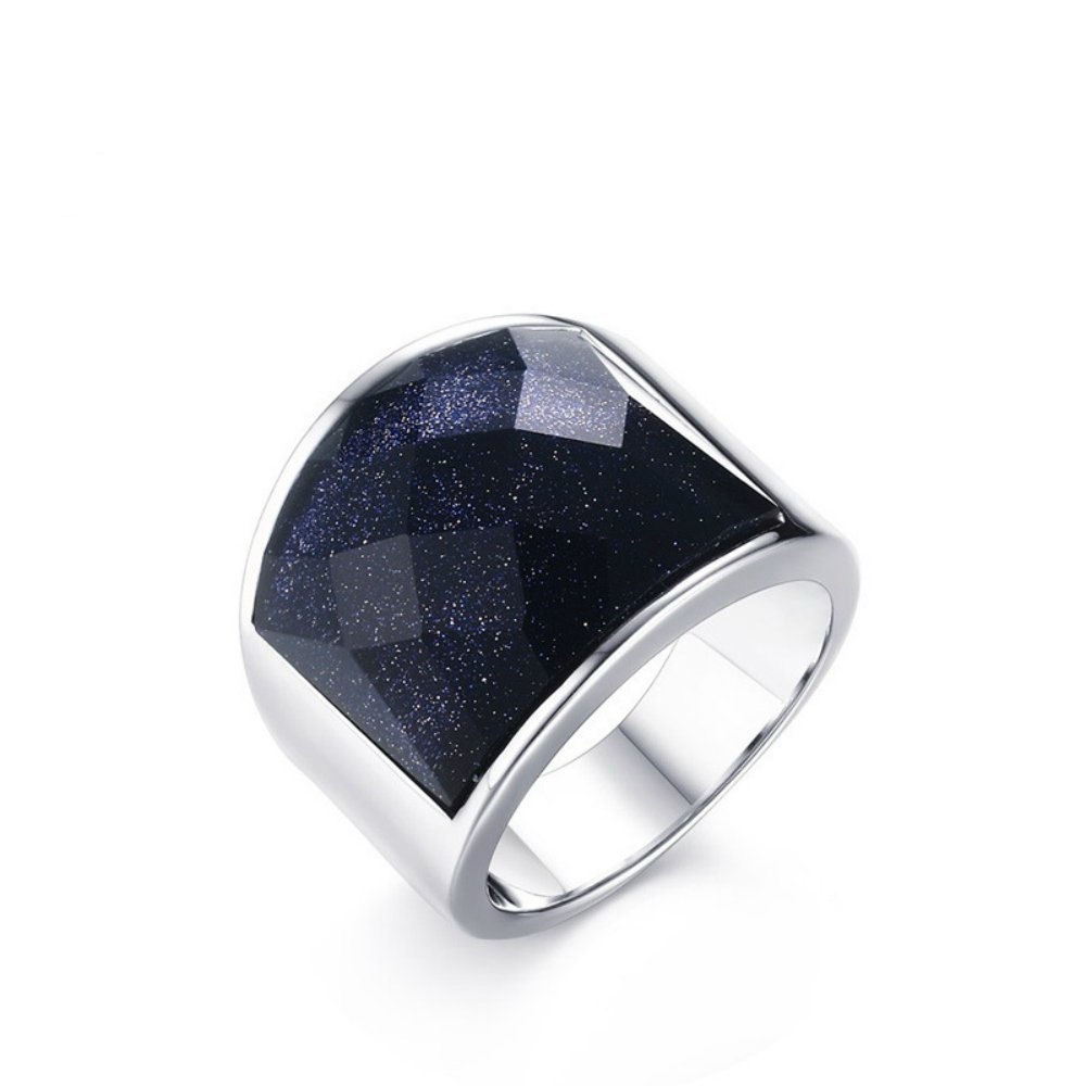 USUASI Size8-12 Fashion Ring for Men with A Wide Blue Sandstone/Men's Personality Jewelry Titanium Ring for Men RC-290 (9)