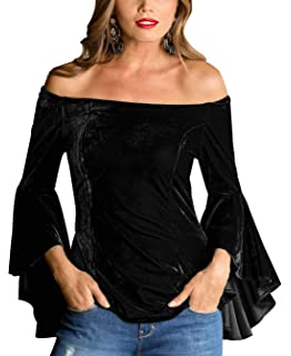 1f4a775f14dec6 Women Velvet Shirts Sexy Fashion Off Shoulder Trumpet Sleeves Long-Sleeved  Tops
