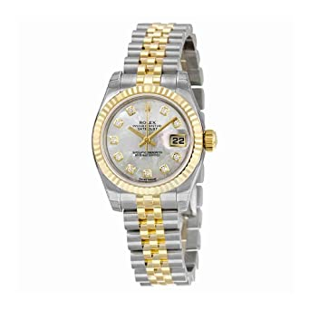 37d7aa9fa139 Image Unavailable. Image not available for. Color  Rolex Datejust Mother of  Pearl Diamond Dial Jubilee Bracelet Two Tone Ladies Watch 179173MDJ