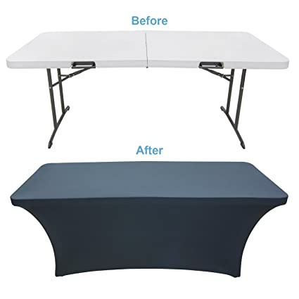 Houseables Black Table Cloths, Fitted Tablecloth Cover, 6 Ft, Black,  Rectangular Skirts